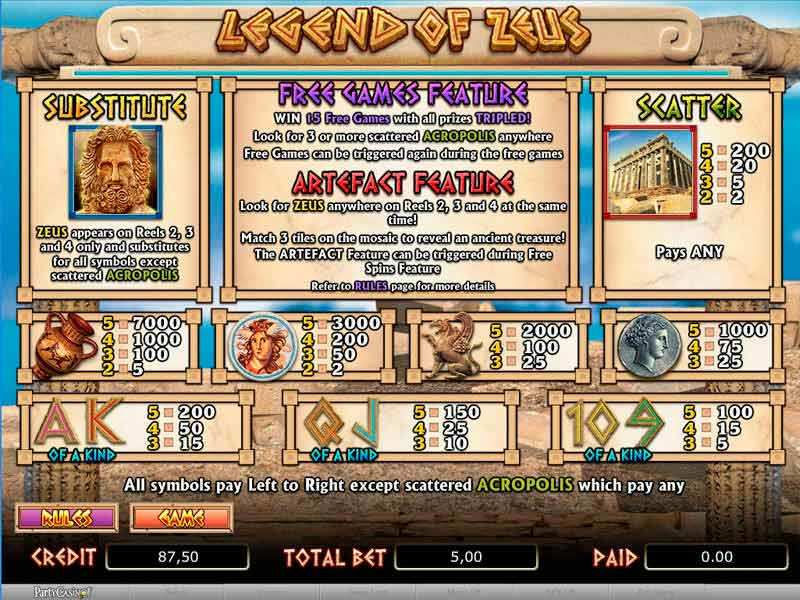 Play Legend of Zeus Slot