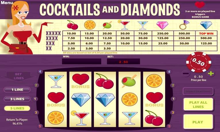 Play Cocktails and Diamonds Slot